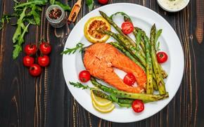 Обои тарелка, рыба, специи, овощи, зелень, помидоры