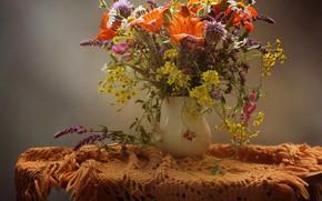 Обои цветы, стол, лилии, ваза, скатерть, васильки