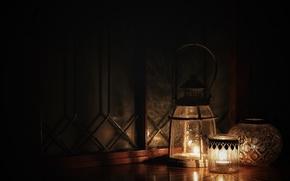 Обои темнота, стиль, свечи, фонари