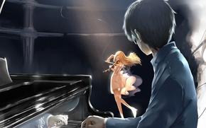 Картинка музыка, Девушка, Скрипка, блондинка, фортепиано, пианино, брюнет, Shigatsu wa Kimi no Uso, Каори, Твоя Апрельская …