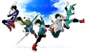 Картинка небо, парень, Boku No Hero Academia, Мидория Изуку, Моя Геройская Академия