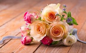Картинка розы, букет, лепестки, pink, flowers, romantic, roses