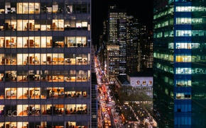 Картинка огни, вечер, Манхеттен, фотограф, США, Нью Йорк, Roman Kruglov