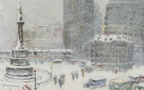 Картинка зима, снег, картина, площадь, городской пейзаж, Guy Carleton Wiggins, Колумбус-Серкл