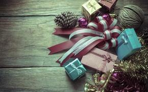 Картинка Новый Год, Рождество, подарки, мишура, шишка, merry christmas, decoration, gifts, xmas, holiday celebration