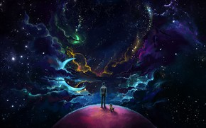 Обои Man And Dog And Neon Space, небо, человек, собака