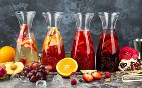 Обои цитрусы, виноград, Напиток, сок, апельсин, ягоды