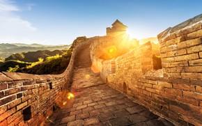 Картинка пейзаж, горы, отдых, размытость, Китай, summer, боке, travel, Великая Китайская стена, tourism, wallpaper., my planet, …