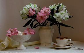 Картинка цветы, кофе, букет, посуда, натюрморт, альстромерии