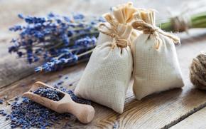 Картинка цветы, лаванда, мешочки, lavender, соль, spa