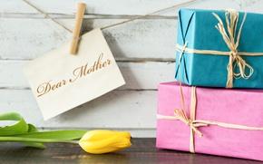 Картинка праздник, тюльпан, подарки, 8 марта