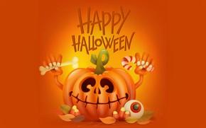 Обои праздник, улыбка, тыква, руки, хэллоуин