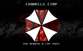 Обои logo, Umbrella Corp., book, fire, Biohazard, Our Business is Life Itself, Umbrella Corporarion, cross, RE, ...