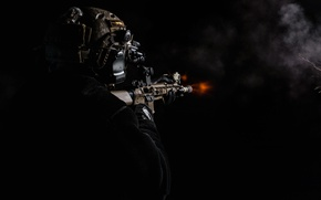Обои оружие, огонь, солдат, автомат, стрельба