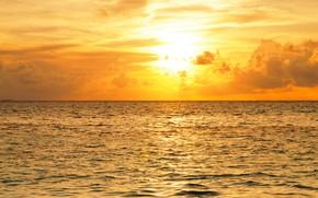 Обои облака, Мальдивы, горизонт, небо, солнце, зарево, море