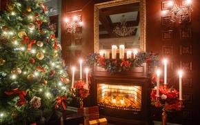Обои decoration, christmas tree, Рождество, holiday celebration, багет, interior, merry christmas, Новый Год