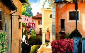 Картинка Рисунок, Улица, Улочка, Арт, Art, Street, Woman, Старый город, Девушкa, Woman In Black, Old town