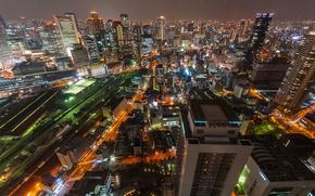 Картинка ночь, Япония, ночной город, мегаполис, skyline, Osaka, Осака, Umeda Sky Tower