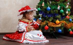 Картинка настроение, шары, елка, новый год, ребенок, платье, девочка, украшение