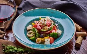 Картинка вино, овощи, салат