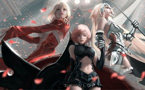 Обои warrior, anime, artwork, Jeanne d'Arc, petals, WLOP, painting, digital art, Fate/Grand Order, art, girls, Nero ...