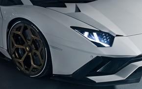 Картинка Lamborghini, фара, колесо, суперкар, 2018, передняя часть, Novitec Torado, Aventador S
