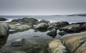Картинка море, камни, побережье, Норвегия, Larvik