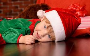 Картинка радость, новый год, ребенок, мальчик, колпак