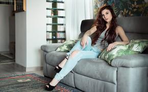 Картинка лицо, комната, диван, модель, волосы, Elena