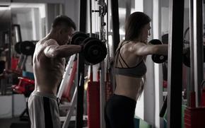 Картинка woman, men, female, workout