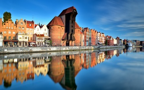 Картинка Польша, Poland, Old Town, Gdansk, Гданьск, Pomeranian, Motlawa channel