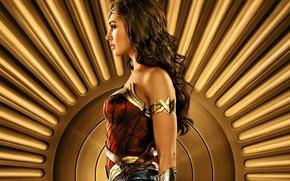 Обои cinema, film, strong, Diana, Themyscira, brunette, gauntlet, armor, movie, Wonder Woman, DC Comics, Gal Gadot, ...