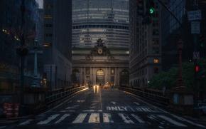 Обои Центральный вокзал, такси, New York, улица, Grand Central Terminal