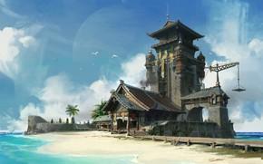 Картинка море, берег, здание, архитектура, Beach and Chinese style architecture