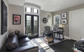Картинка стол, комната, диван, интерьер, картины