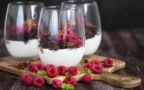 Картинка малина, стаканы, десерт, йогурт