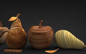 Картинка гусеница, фрукты, деревянные фигурки