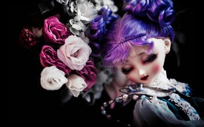 Картинка девушка, цветы, ресницы, темнота, темный фон, фон, черный, волосы, игрушка, портрет, розы, букет, кукла, прическа, ...