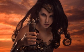 Обои strong, Diana, cosplay, blade, DC Comics, cinema, warrior, film, gauntlet, armor, blue eyes, ken, Themyscira, ...
