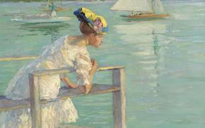 Обои картина, лодка, На Причале, Эдуард Какуел, Edward Cucuel, девушка, парус