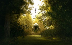 Картинка лес, поляна, аппарат, Trunks Arrival