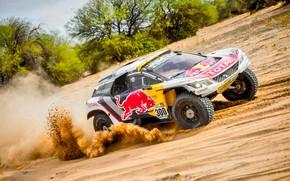 Картинка Песок, Спорт, Скорость, Гонка, Peugeot, Фары, Red Bull, Rally, Dakar, Ралли, Sport, Передок, Дюна, DKR, …