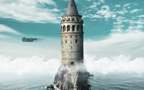 Картинка tower, sea, photomanipulation, istanbul, surreal, manipulation, photomanipulate, galata tower