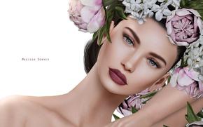 Картинка девушка, цветы, портрет, венок