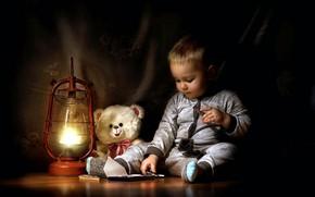 Картинка лампа, шоколад, мальчик, мишка