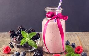 Картинка ягоды, малина, коктейль, трубочка, напиток, бантик, мята, ежевика, бутылочка, смузи