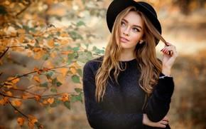 Картинка осень, листья, ветки, поза, портрет, шляпа, макияж, прическа, шатенка, красотка, в черном, боке, Bogdana, Olga …