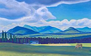 Картинка облака, пейзаж, горы, картина, Rockwell Kent, Рокуэлл Кент, Адирондакская Ферма. Лето