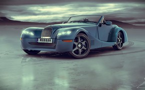 Обои Morgan Aero 8 custom, автомобиль, след