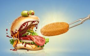 Картинка булочка, котлета, гамбургер, юмор, помидор, сыр